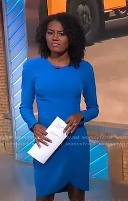 Janai's blue tulip hem dress on Good Morning America