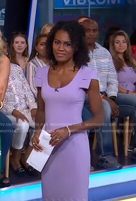 Janai's purple cap sleeve dress on Good Morning America