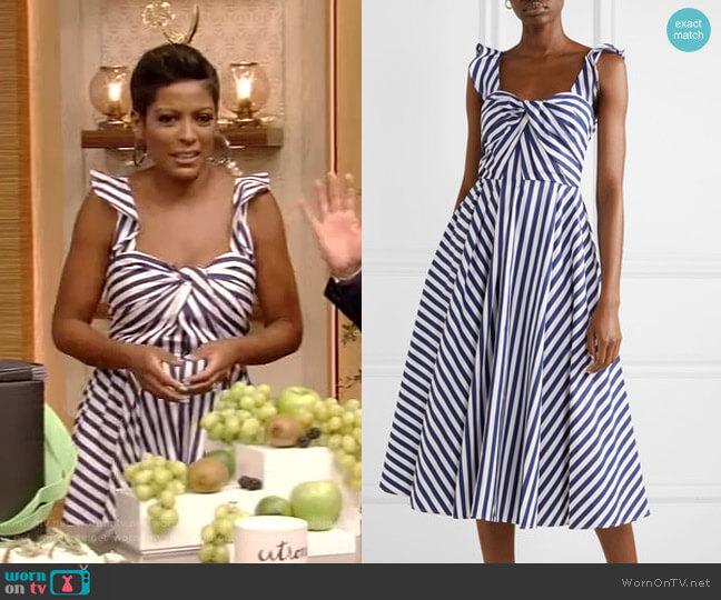 Twist-front striped Midi Dress by Jason Wu worn by Tamron Hall on Live with Kelly and Ryan