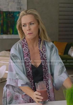 Jennie's blue floral robe on BH90210