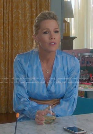 Jennie's blue geometric print wrap dress on BH90210