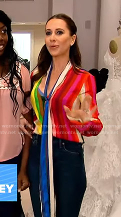 Jessica's rainbow striped blouse with tie on Good Morning America