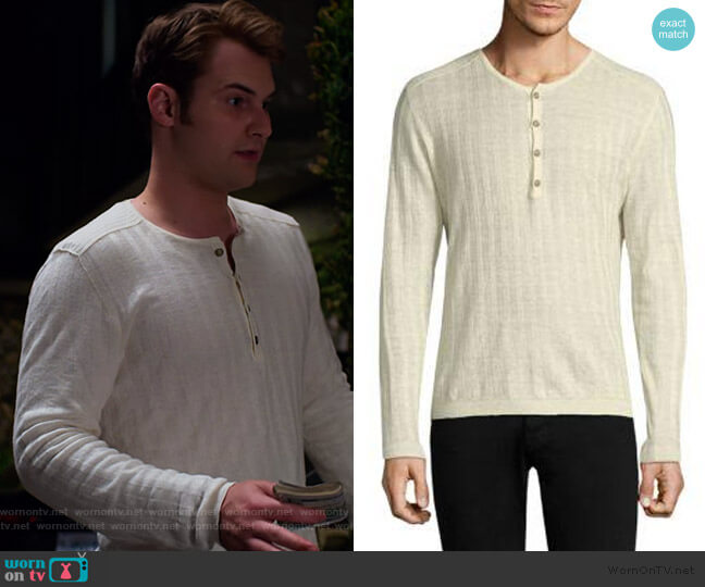 Long Sleeve Ribbed Henley by John Varvatos worn by Justin Prentice on 13 Reasons Why