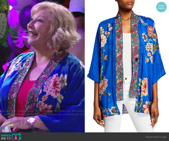 Johnny Was Bonian Floral Georgette Kimono w/ Embroidered Trim worn by Traci Abbott (Beth Maitland) on The Young & the Restless
