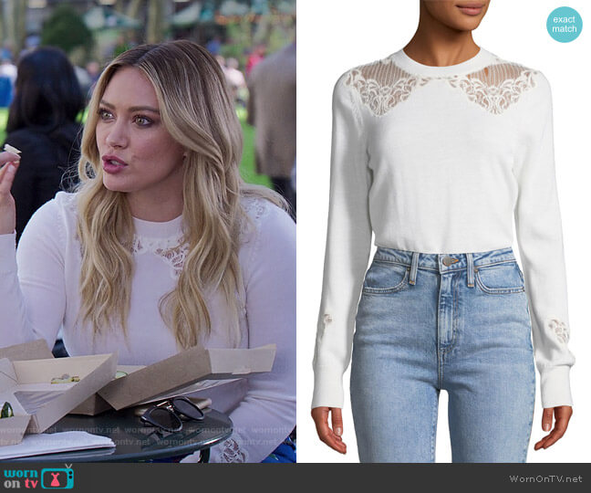 Lace Applique Crewneck Pullover Sweater by Jonathan Simkhai worn by Kelsey Peters (Hilary Duff) on Younger