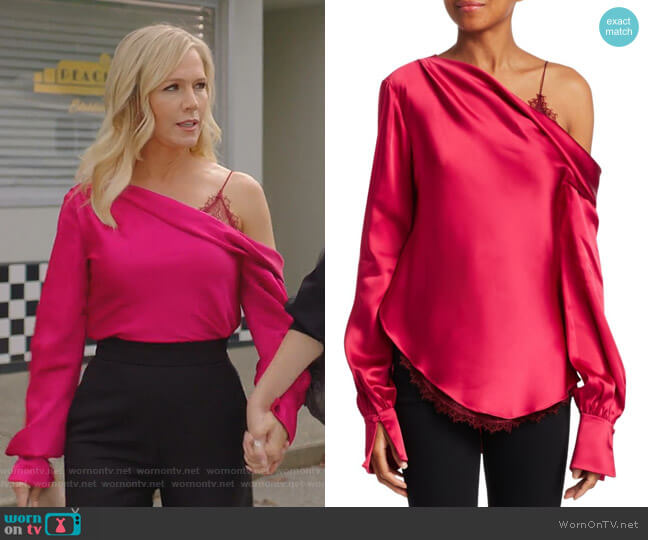 Sateen Lingerie Lace Drop-Shoulder Top by Jonathan Simkhai worn by Jennie Garth  on BH90210