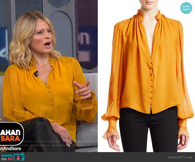 Georgette Puff Sleeve Blouse by Jonathan Simkhai worn by Sara Haines  on Good Morning America