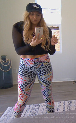 Gina's geometric print leggings on The Real Housewives of Orange County