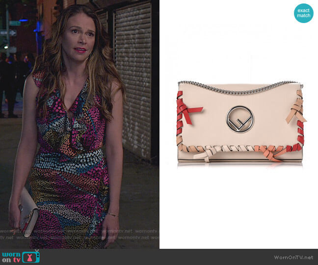 Kan Whipstitch Leather Shoulder Bag by Fendi worn by Liza Miller (Sutton Foster) on Younger