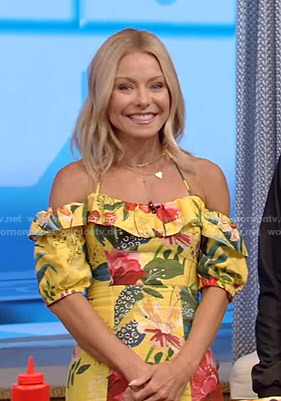 Kelly's yellow floral off-shoulder dress on Live with Kelly and Ryan