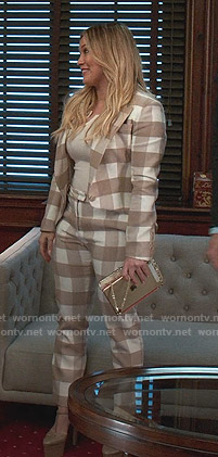 Kelsey's beige and white gingham check suit on Younger