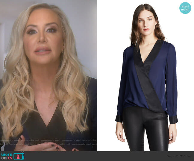 Kyla Draped Blouse by L'Agence worn by Shannon Beador  on The Real Housewives of Orange County