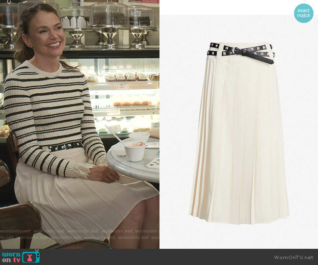 Ines Pleated Belted Midi-Skirt by Les Coyotes de Paris worn by Liza Miller (Sutton Foster) on Younger