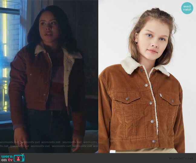 Corduroy Sherpa Cropped Trucker Jacket by Levi's at Urban Outfitters worn by Mariana Foster (Cierra Ramirez) on Good Trouble