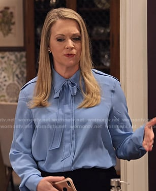 Liz's blue tie neck blouse on No Good Nick