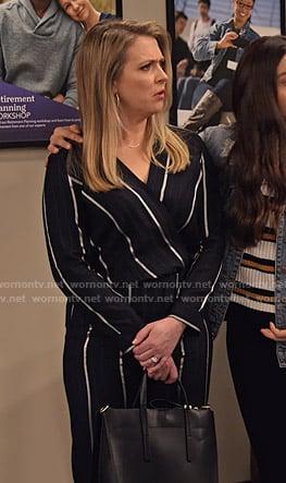 Liz's striped wrap jumpsuit on No Good Nick