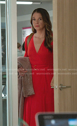 Liza's red belted wrap dress on Younger