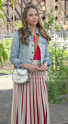 Liza's striped midi skirt on Younger