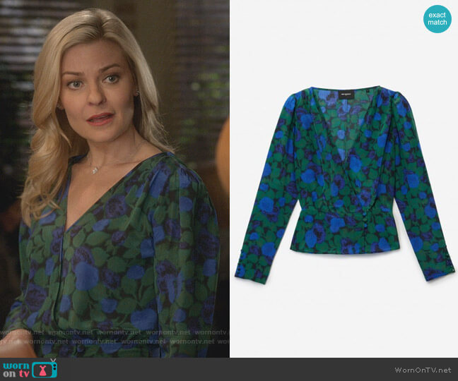 Long Sleeved Top in Winter Night Print by The Kooples worn by Stephanie Borden (Kylee Evans) on Good Witch