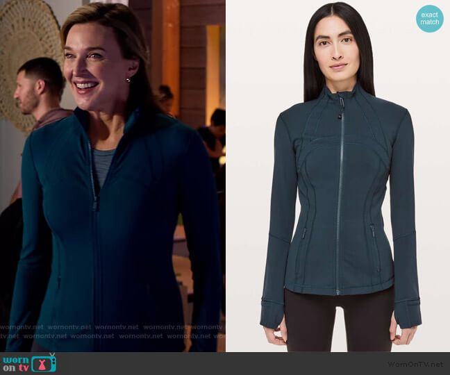 Define Jacket by Lululemon in Nocturnal Teal worn by Nora Walker (Brenda Strong) on 13 Reasons Why