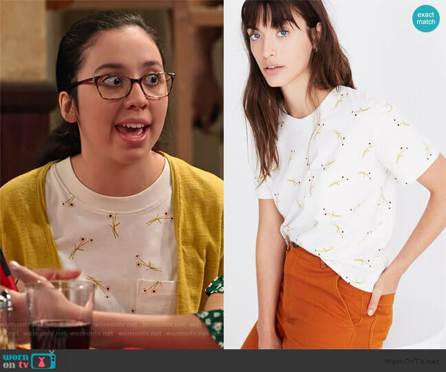 Easy Crop Tee in Daisy Sketch by Madewell worn by Lori Mae Hernandez on No Good Nick
