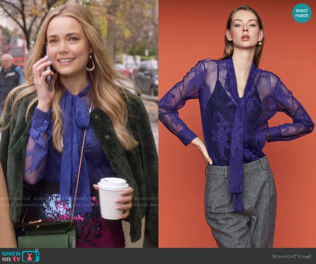 Maje Cilette Lavalier Shirt in Lace worn by Ainsley Howard (Rebecca Rittenhouse) on Four Weddings & a Funeral