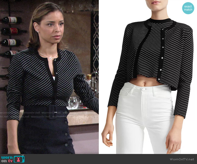 Maje Malicia Striped Cropped Cardigan worn by Elena Dawson (Brytni Sarpy) on The Young & the Restless