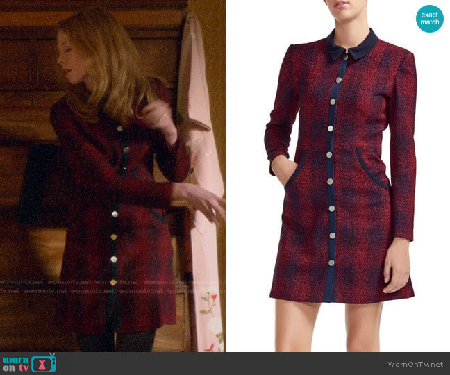 Maje Renitia Tweed Shirtdress worn by Gemma (Zoe Boyle) on Four Weddings & a Funeral