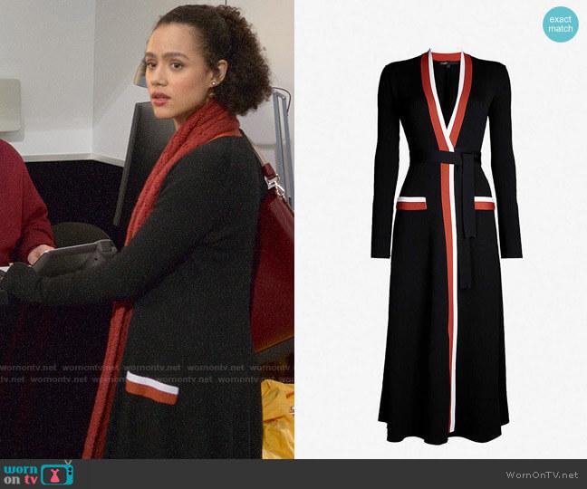 Maje Rosiana Wrap Midi Dress worn by Maya (Nathalie Emmanuel) on Four Weddings & a Funeral