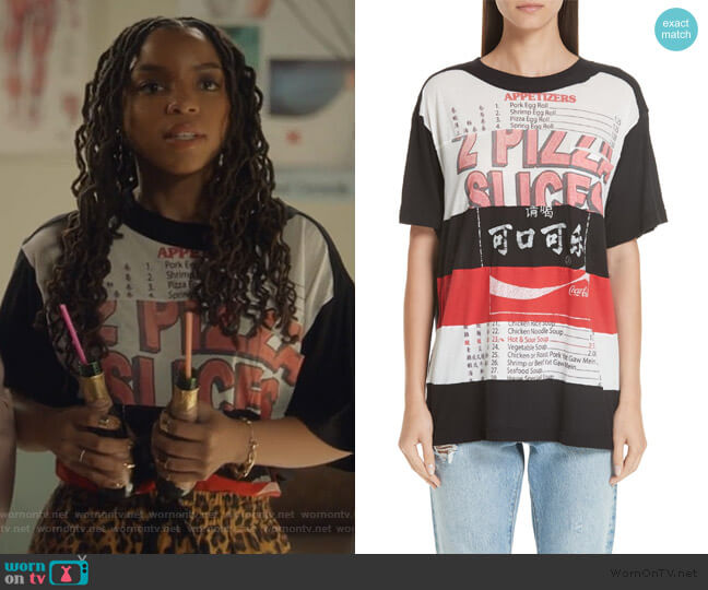 Patchwork Print Tee by Marc Jacobs worn by Jazlyn Forster (Chloe Bailey) on Grown-ish