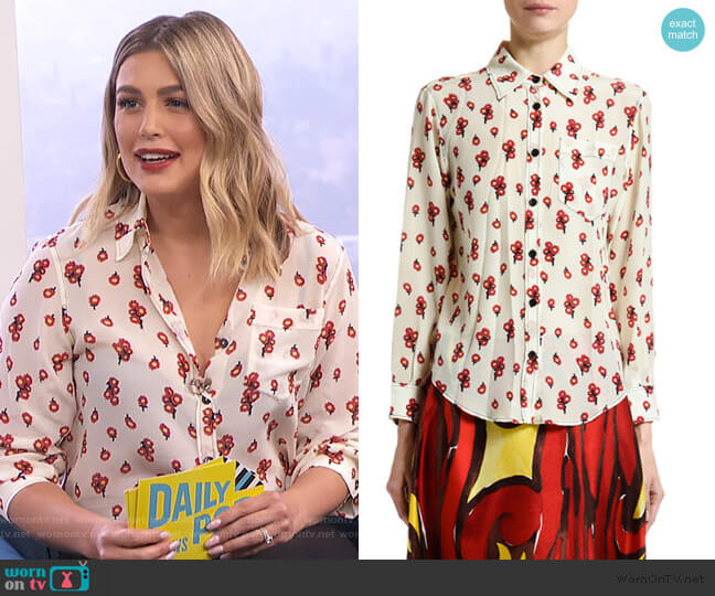 Peace-Print Silk Button-Front Blouse by Marni worn by Carissa Loethen Culiner  on E! News
