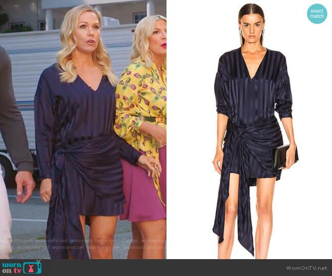 Long Sleeve Wrap Dress by Michelle Mason worn by Jennie Garth  on BH90210