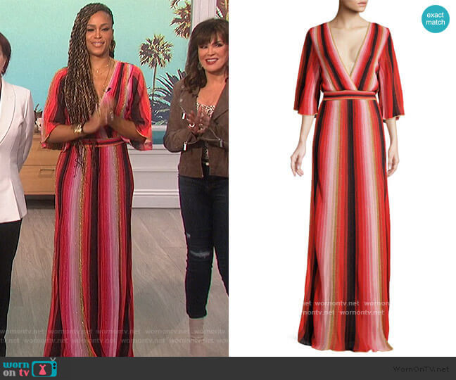 Textured Stripes Plunging Maxi Dress by M Missoni worn by Eve  on The Talk