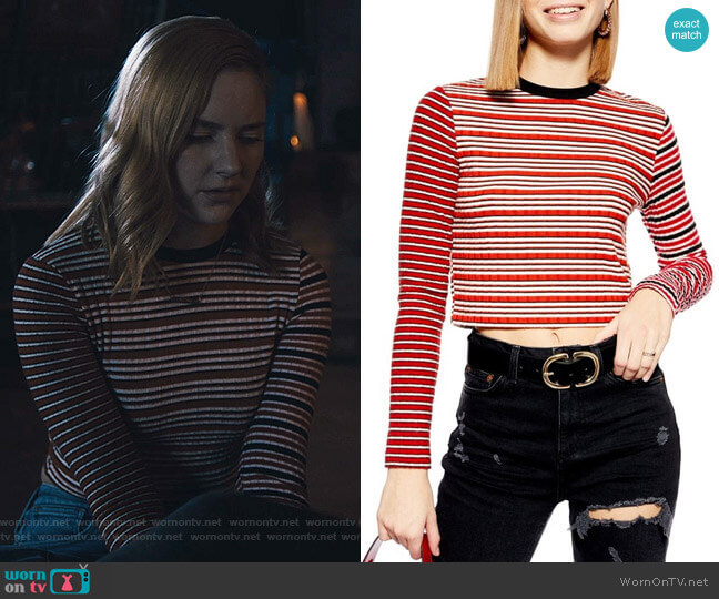 Mix Stripe Long Sleeve Top by Topshop worn by Violet Simmons (Haley Ramm) on Light as a Feather