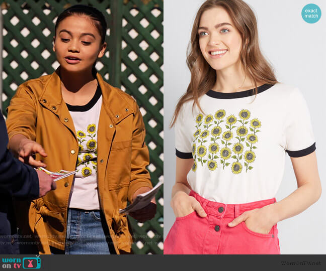 Sunflower Patch Graphic Tee by Modcloth worn by Nick (Siena Agudong) on No Good Nick