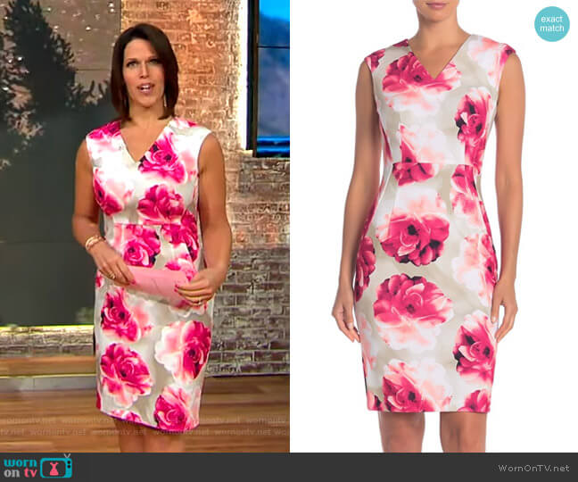Floral V-Neck Sheath Dress by Modern American Designer worn by Dana Jacobson  on CBS This Morning