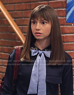 Molly's navy heart embellished collar blouse with bow on No Good Nick