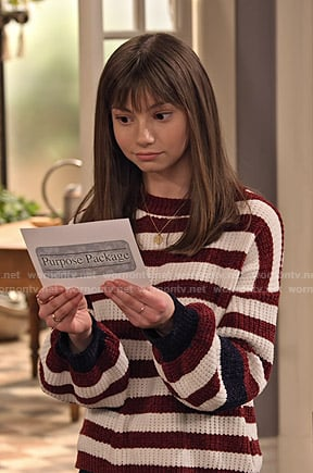Liz's red abstract print sweater on No Good Nick