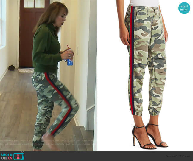 The Misfit Side-Stripe Camo Pants by Mother worn by Kelly Dodd  on The Real Housewives of Orange County