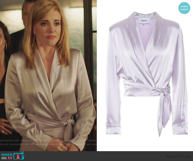 Salome Satin Top by Nanushka worn by Kelly Anne Van Awken (Molly Burnett) on Queen of the South