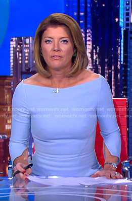 Norah's blue slit-sleeve dress on CBS Evening News