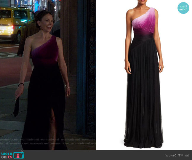 One-Shoulder Ombre Gown by Pamella Roland worn by Liza Miller (Sutton Foster) on Younger