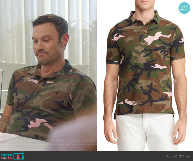 Basic Mesh Camo Print Polo by Polo Ralph Lauren worn by Brian Austin Green  on BH90210