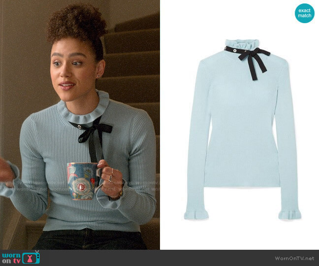 RED Valentino Grosgrain-trimmed wool sweater worn by Maya (Nathalie Emmanuel) on Four Weddings & a Funeral