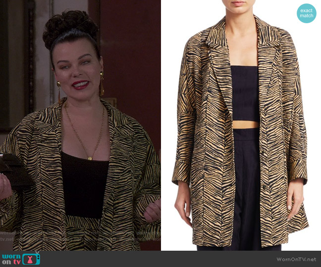 Baby Zebra Jacquard Cocoon Coat by Rachel Comey worn by Maggie (Debi Mazar) on Younger