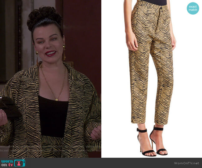 Baby Zebra Jacquard Vestige Pants by Rachel Comey worn by Maggie (Debi Mazar) on Younger