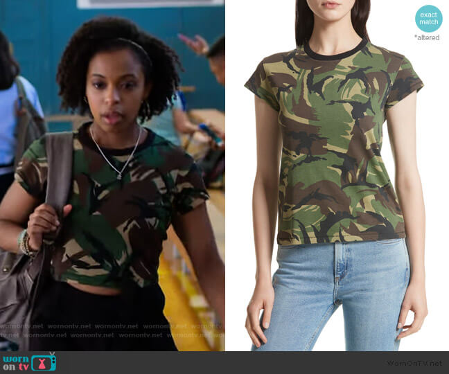 JEAN Camo Tee by Rag and Bone worn by Ani (Grace Saif) on 13 Reasons Why