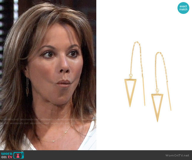 Rebecca Minkoff Triangle Threader Earrings  worn by Alexis Davis (Nancy Lee Grahn) on General Hospital