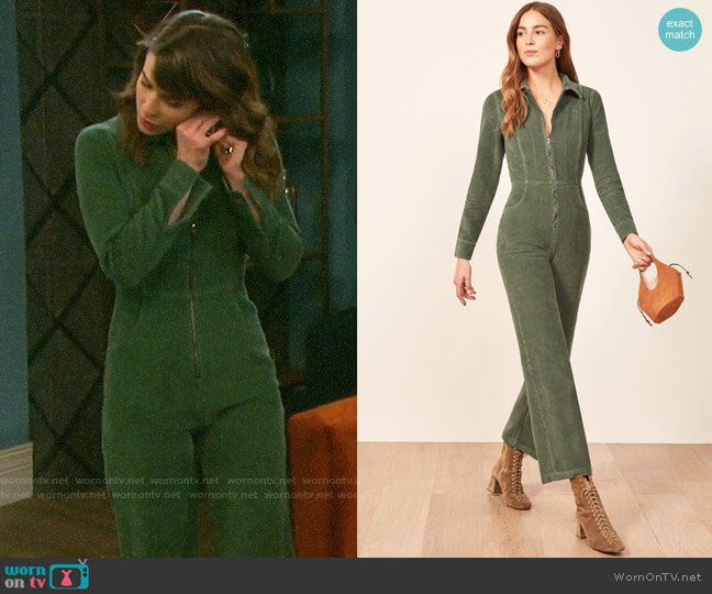 Reformation Carolina Jumpsuit worn by Sarah Horton (Linsey Godfrey) on Days of our Lives