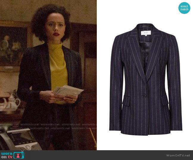 Reiss Piper Pinstripe Suit worn by Maya (Nathalie Emmanuel) on Four Weddings & a Funeral